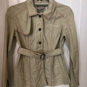 Free People belted jacket detachable hood Sz 4